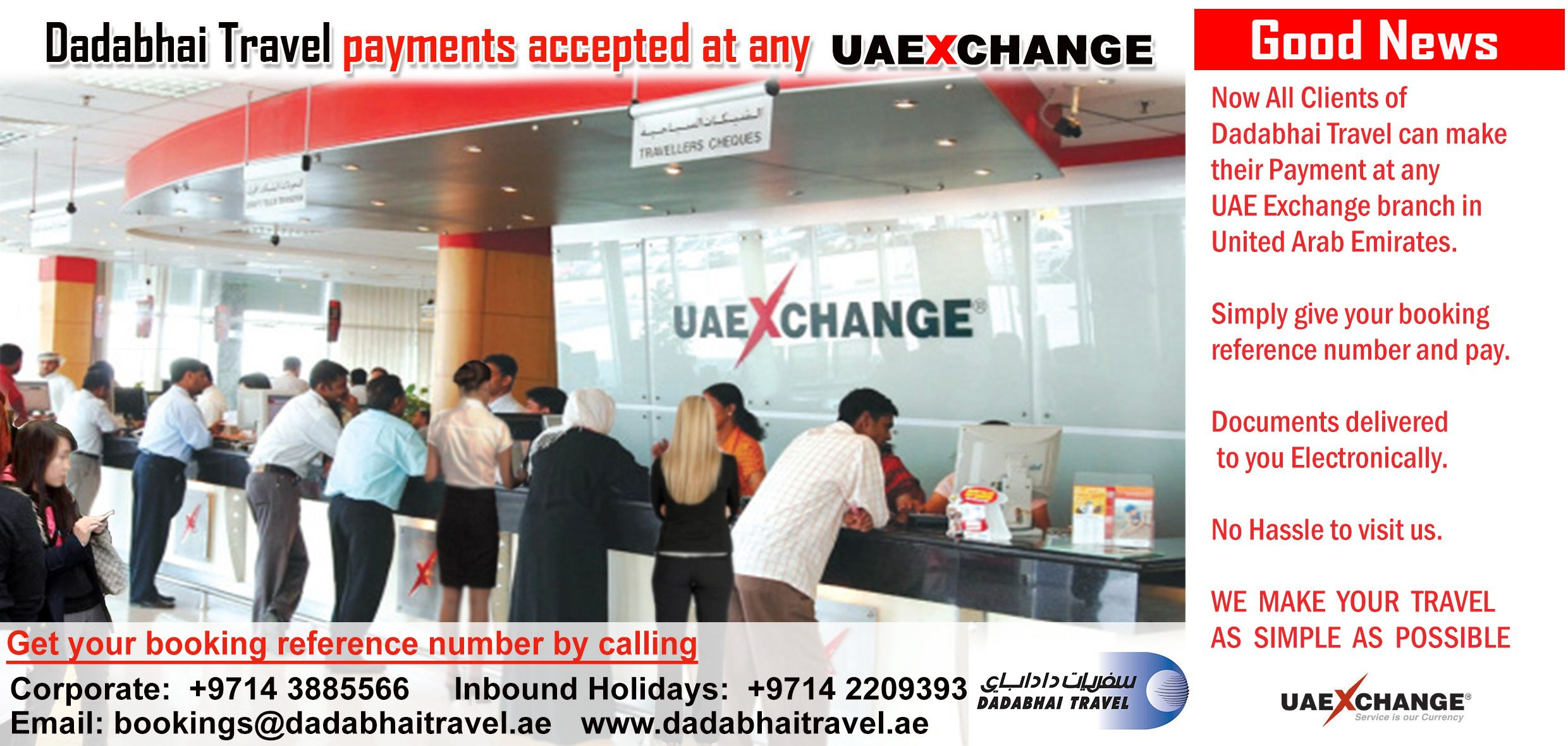 Dadabhai Travel Payments Accepted at any UAE Exchange branch
