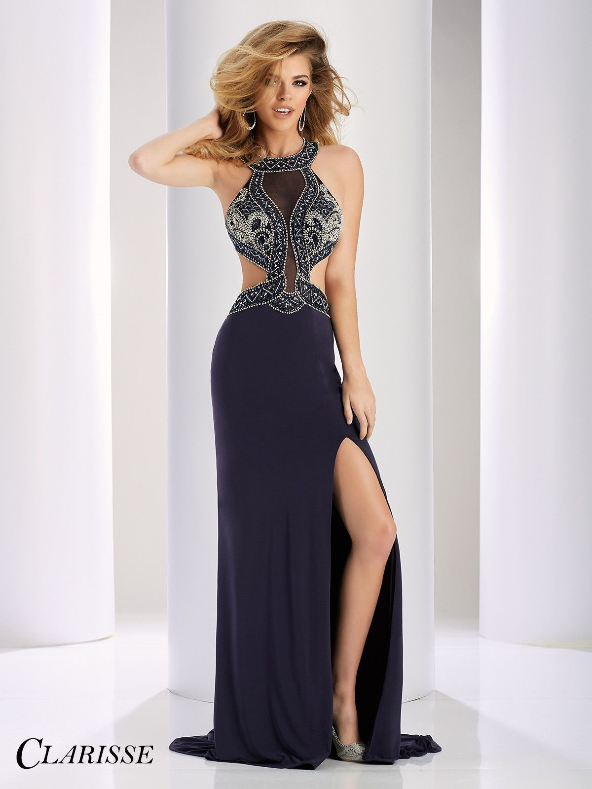 Clarisse couture charcoal high neckline open back prom dress