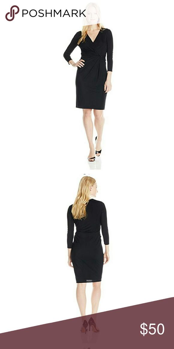New Anne Klein Black Dress NWT V Neck Size 2P Anne Klein Dresses