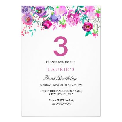 Purple Pink Floral Girl 3rd Birthday Invitation