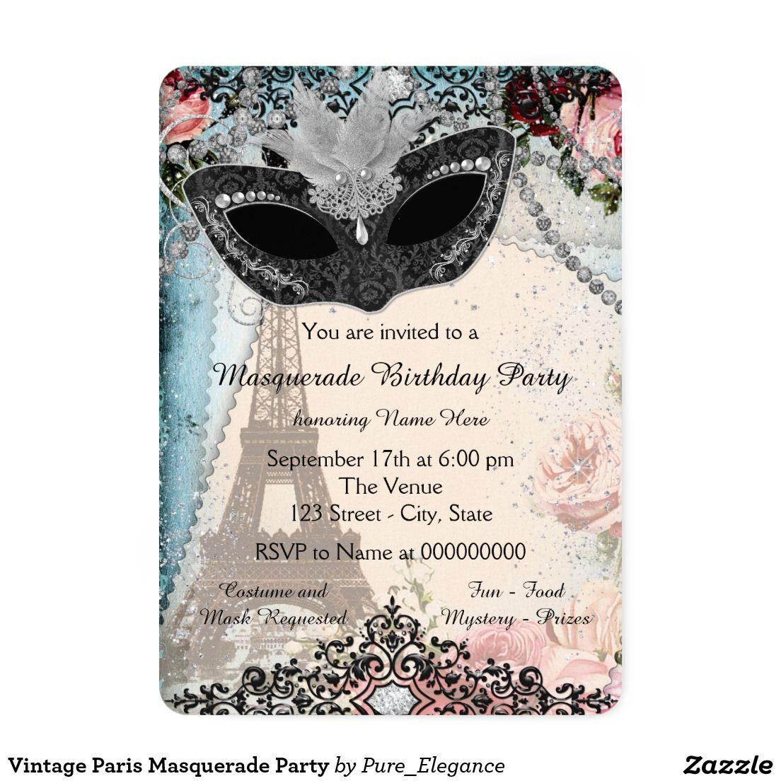 Vintage Paris Masquerade Party Invitation | QUINCEANERA Invitations ...