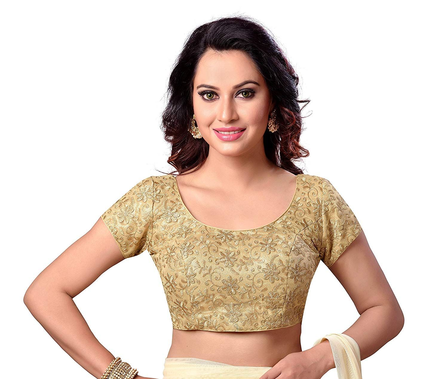 0adbff0a7aa18f STUDIO SHRINGAAR LATEST GOLDEN FULLY EMBROIDERED READYMADE STITCHED CAP  SLEEVE SAREE BLOUSE FOR WOMEN.: Amazon.in: Clothing & Accessories