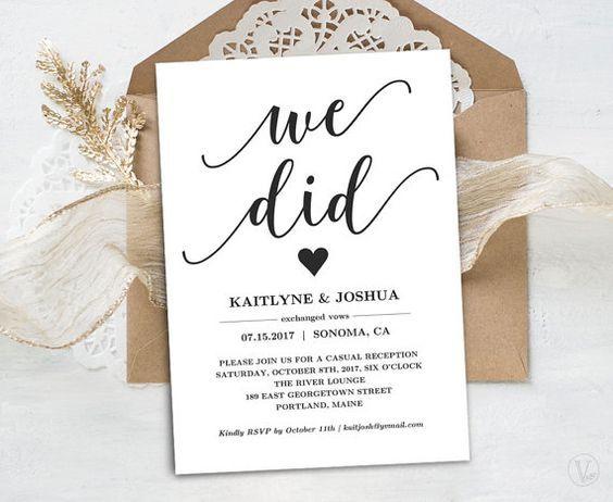 Elopement Wedding Invitations: Elopement Reception Invitation, Printable Elopement