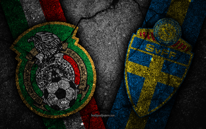 Download wallpapers Mexico vs Sweden, 4k, FIFA World Cup