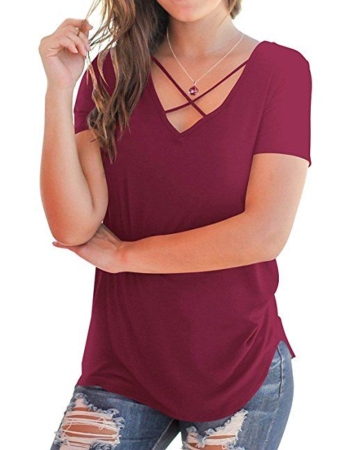 0e973074113 BOBOSMXL Women s Casual Short Sleeve Solid Criss Cross Front V-Neck T-Shirt  Blouse