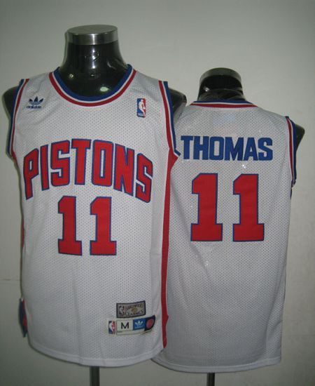 5252e17181ec Throwback Pistons  11 Thomas White Stitched NBA Jersey