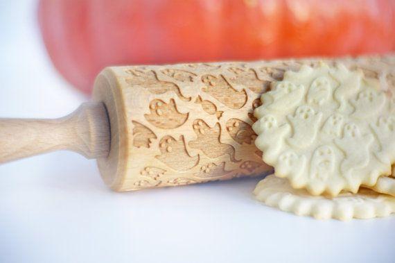 GHOST pattern Embossing rolling pin Halloween by ValekRollingPins