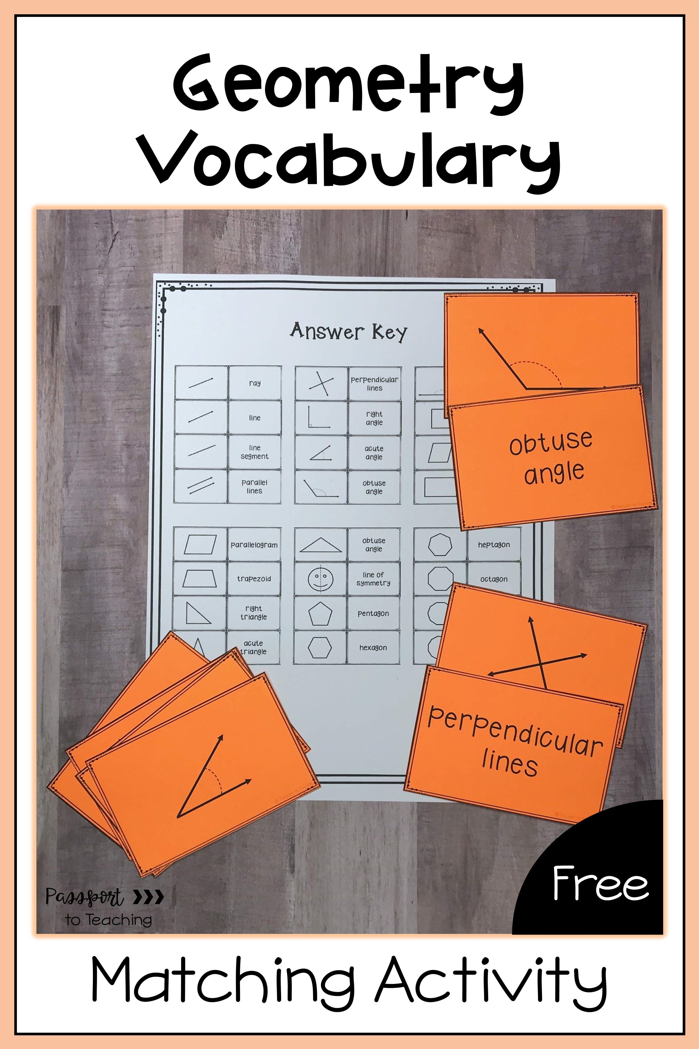 Geometry Vocabulary Matching Activity