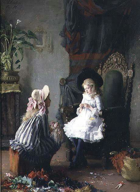 Leon Delachaux, Two Girls Dressing a Doll, private collection, oil on canvas