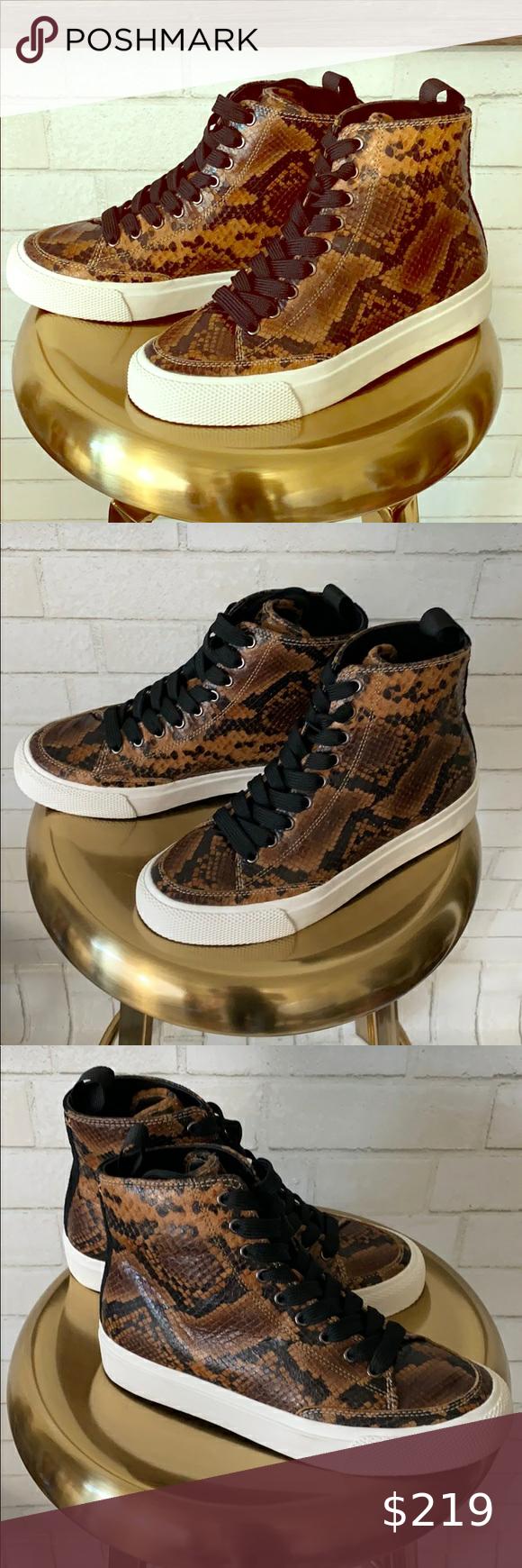 Bone High Tops   Snakeskin Sneakers