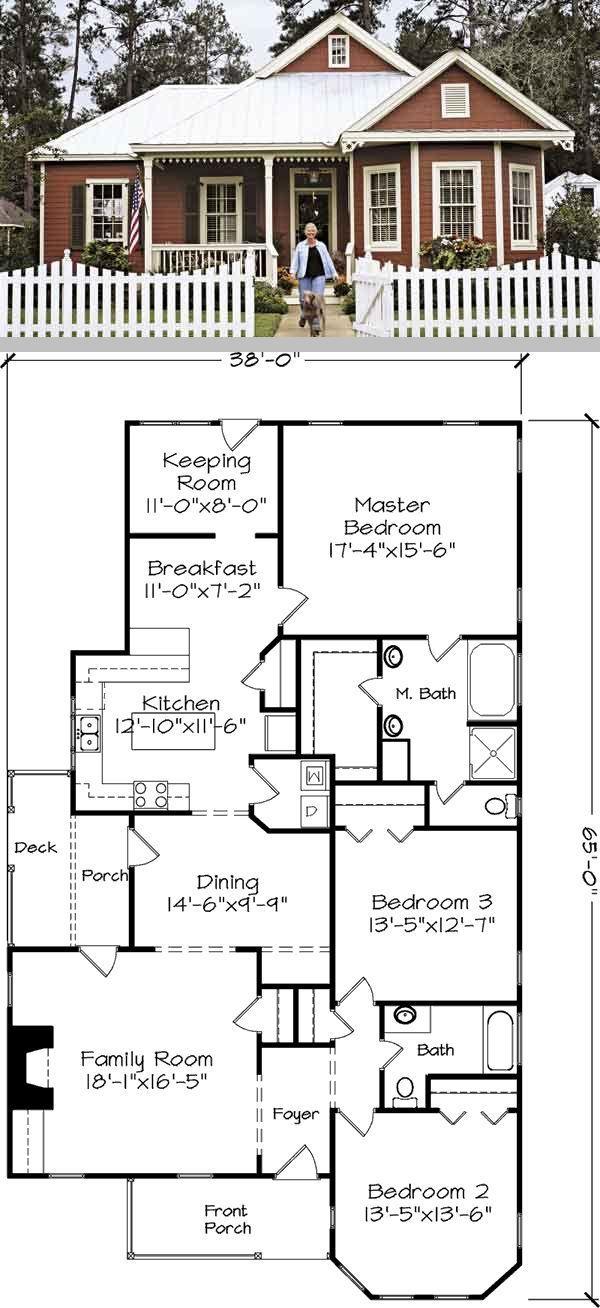 Covington Cottage 1941sf Single Level Open Floorplan 38 X 65 3 Bdrm 2 Full Baths Pantry Fireplace Cottage Plan Southern Living House Plans Lake House