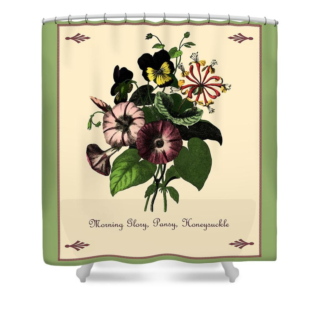 Vintage Morning Glory Pansy and Honeysuckle Shower Curtain, by Joy ...
