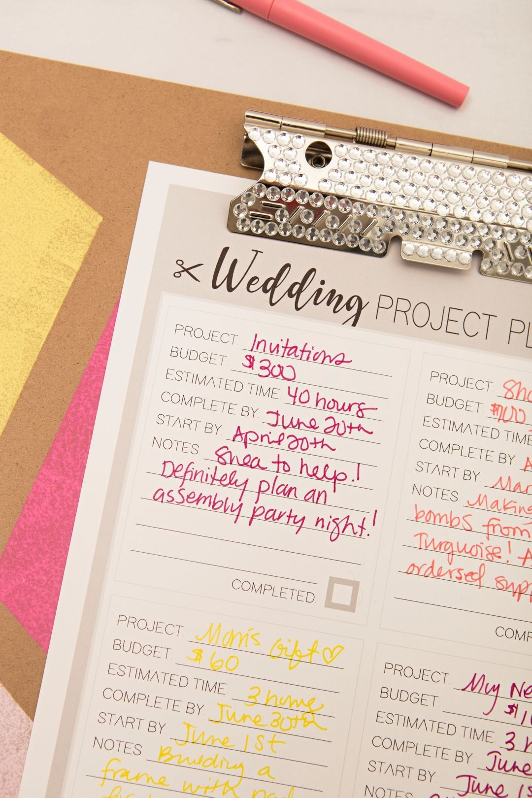 Print Out Out This Diy Wedding Project Planner Sheet For