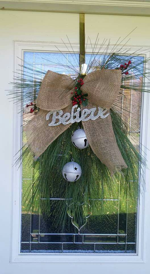 Believe swag Believe Sign Christmas Believe Wreath Jingle Bells Burlap Bow Property of Personalized Traditions