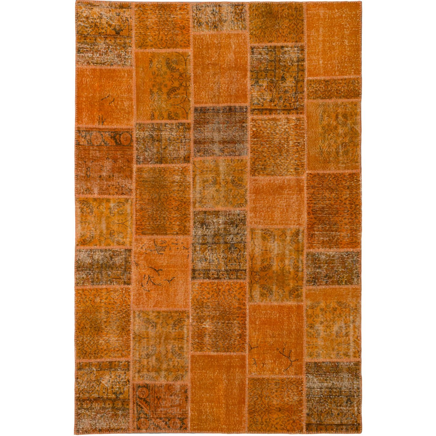 ecarpetgallery Color Transition Patch Orange Wool Rug
