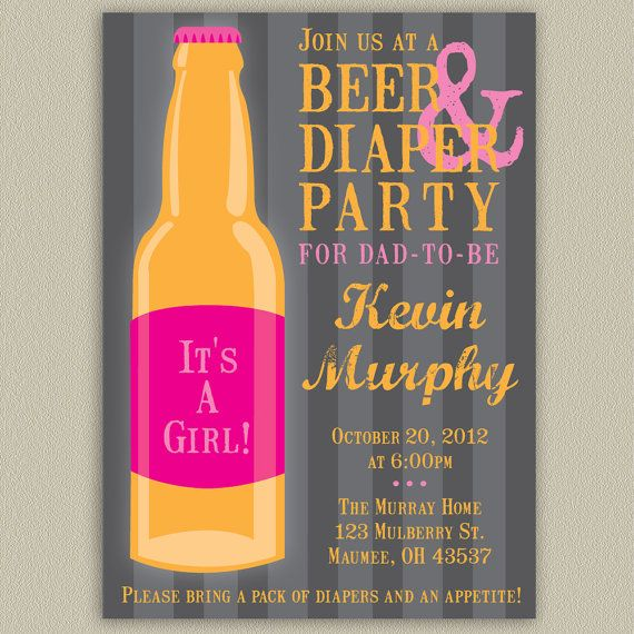Beer and Diaper Party for Dad Printable by doubleudesign on Etsy