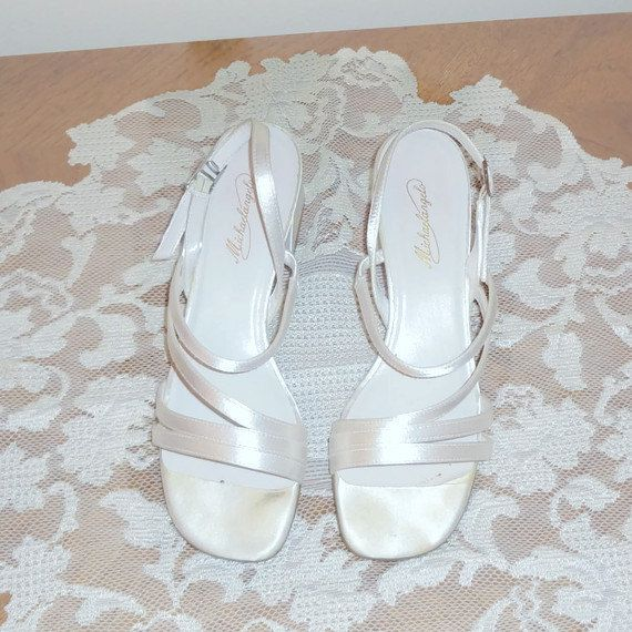 Vintage Michaelangelo White Satin Sling Back Wedding Shoes Available Now By VintageByMcCormick