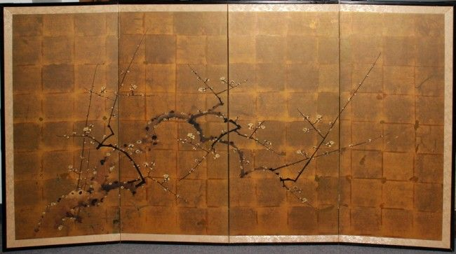 Japanese Four Panel Rice Paper Wall Screen Japanese Art