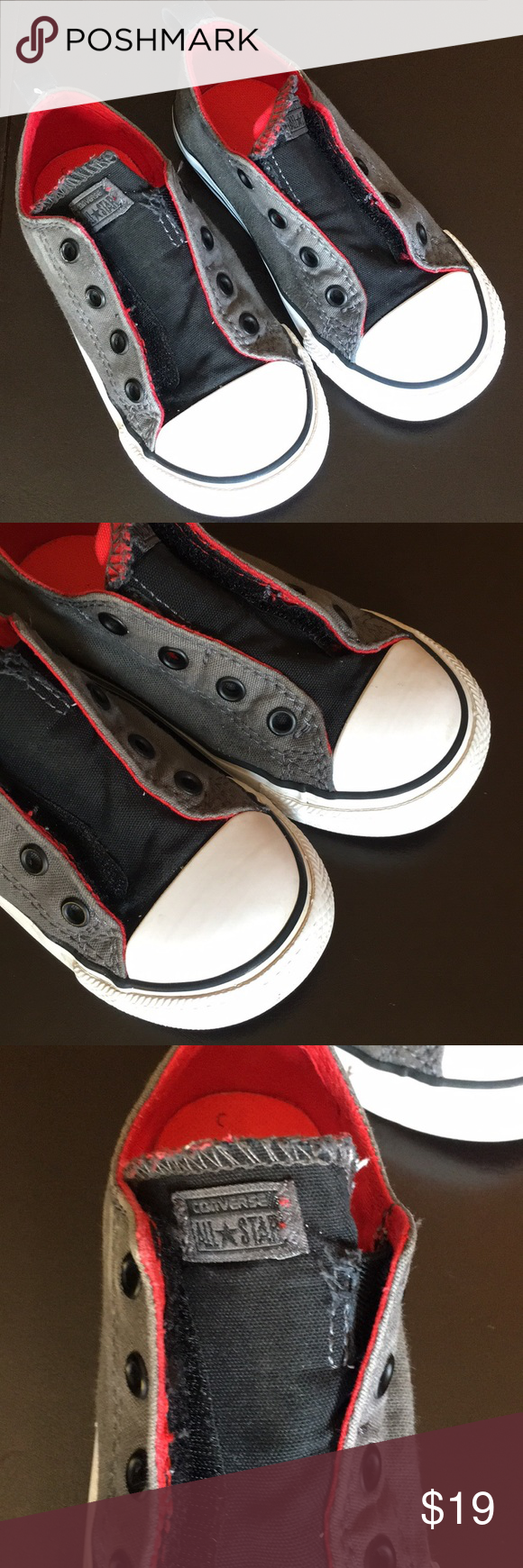 2781547f59eb Converse Gray and Red Laceless Chuck Taylors Oxford style canvas Gray and Red  Converse Laceless Chuck Taylors have one side velcro closure. Rubber soles.