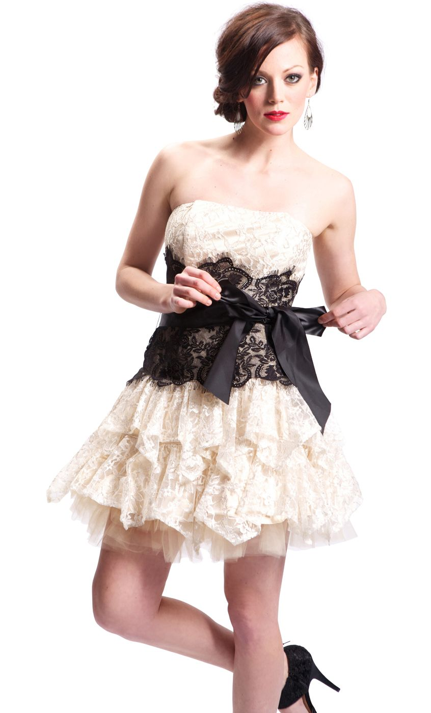 Strapless Bustier Contrast Lace And Crinoline Ruffle Mini Dress