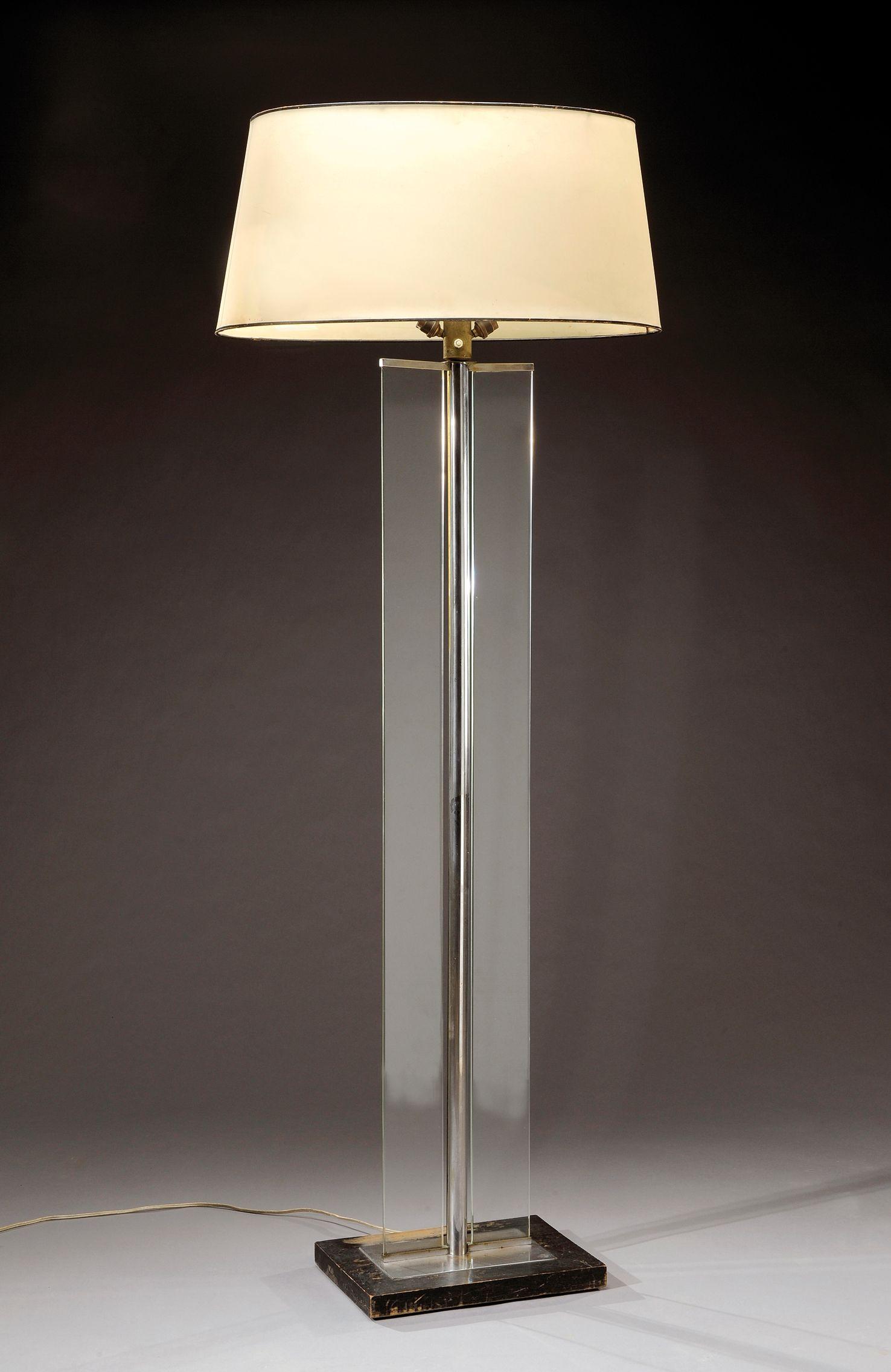 Murano gl floor lamp murano gl floor lamps 173 for at 1stdibs - Jacques Adnet 1901 1984 Lampadaire Moderniste F T Cylindrique En M Tal Nickel Enserrant