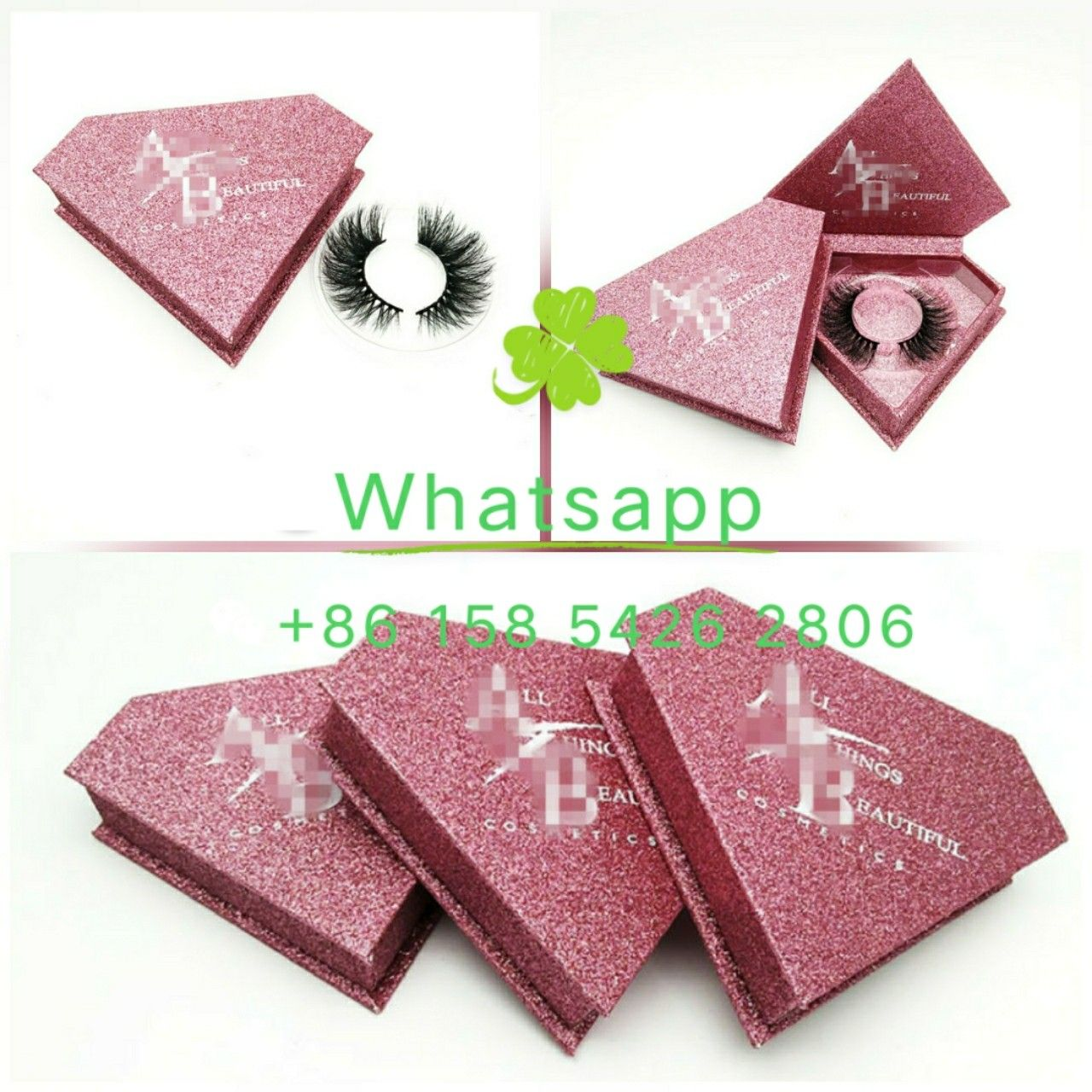 e711294b6dd Pink glitter Diamond shape Custom logo false eyelash packaging box ...