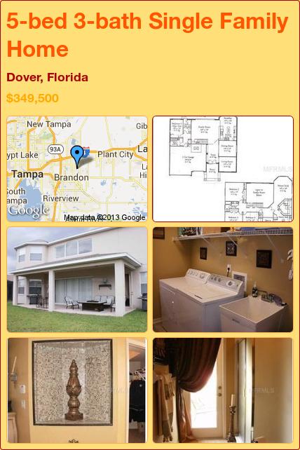 5-bed 3-bath Single Family Home in Dover, Florida ►$349,500 #PropertyForSale #RealEstate #Florida http://florida-magic.com/properties/1505-single-family-home-for-sale-in-dover-florida-with-5-bedroom-3-bathroom