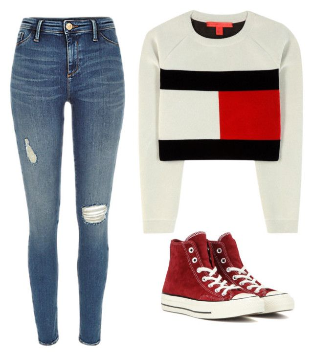 """""""Sans titre #14"""" by leonorabuffo on Polyvore featuring mode, Tommy Hilfiger et Converse"""