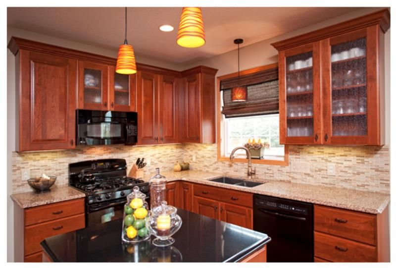 Showplace cherry wood cabinets with Cambria Natural Quartz ... on Natural Maple Cabinets With Quartz Countertops  id=30331