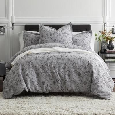 The Company Store Felicity Gray Multicolored Botanical Cotton Blend Full Duvet Cover 50454d F Gray Multi The Home Depot In 2021 Gray Duvet Cover Full Duvet Cover Linen Duvet Cover Grey