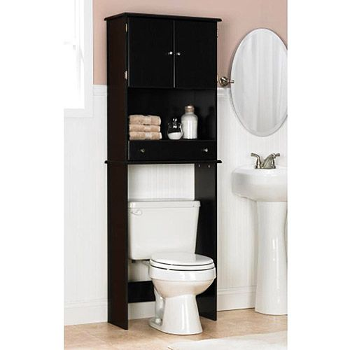 Space saver over the toilet cabinet espresso love this for Muebles de bano walmart
