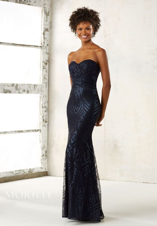 Pattern Sequins on Mesh on a fit and flare, Sweartheart, Strapless ...