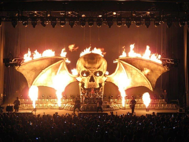 A7X Stage Set Up Love The Deathbat In Its Firely Glory