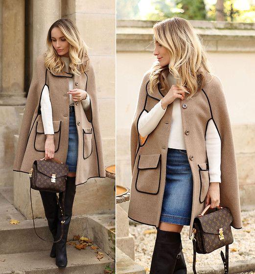 Get this look: http://lb.nu/look/7868646  More looks by Silvia P.: http://lb.nu/user/90613-Silvia-P  Items in this look:  Liu Jo Cape, H&M Skirt, H&M Boots, Louis Vuitton Bag, Zara Top   #bohemian #louisvuitton #pochettemetis #liujo #camelcape #camel #fall