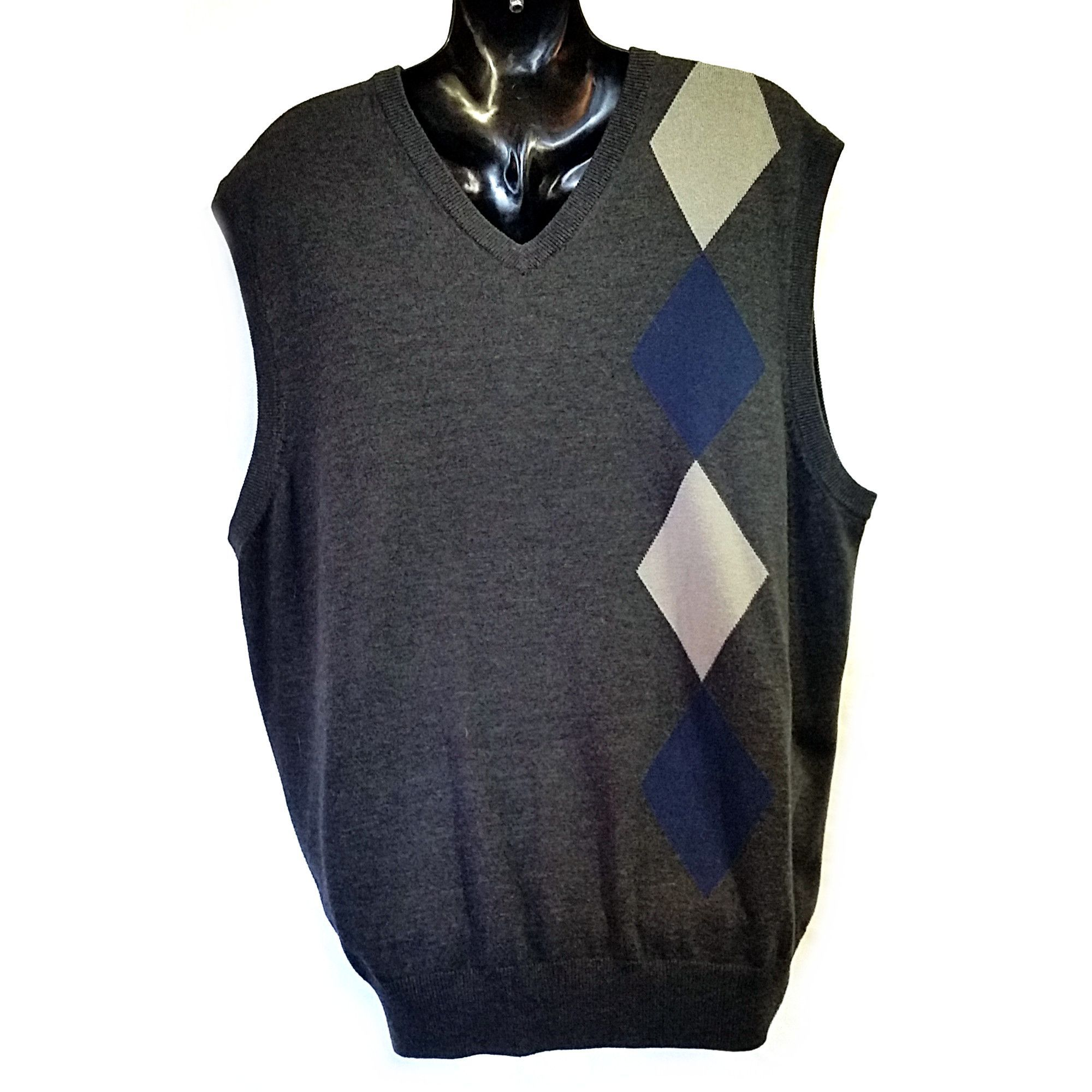 Gray Argyle Sweater Vest Mens XXL Axist Business f201 | Sweater ...