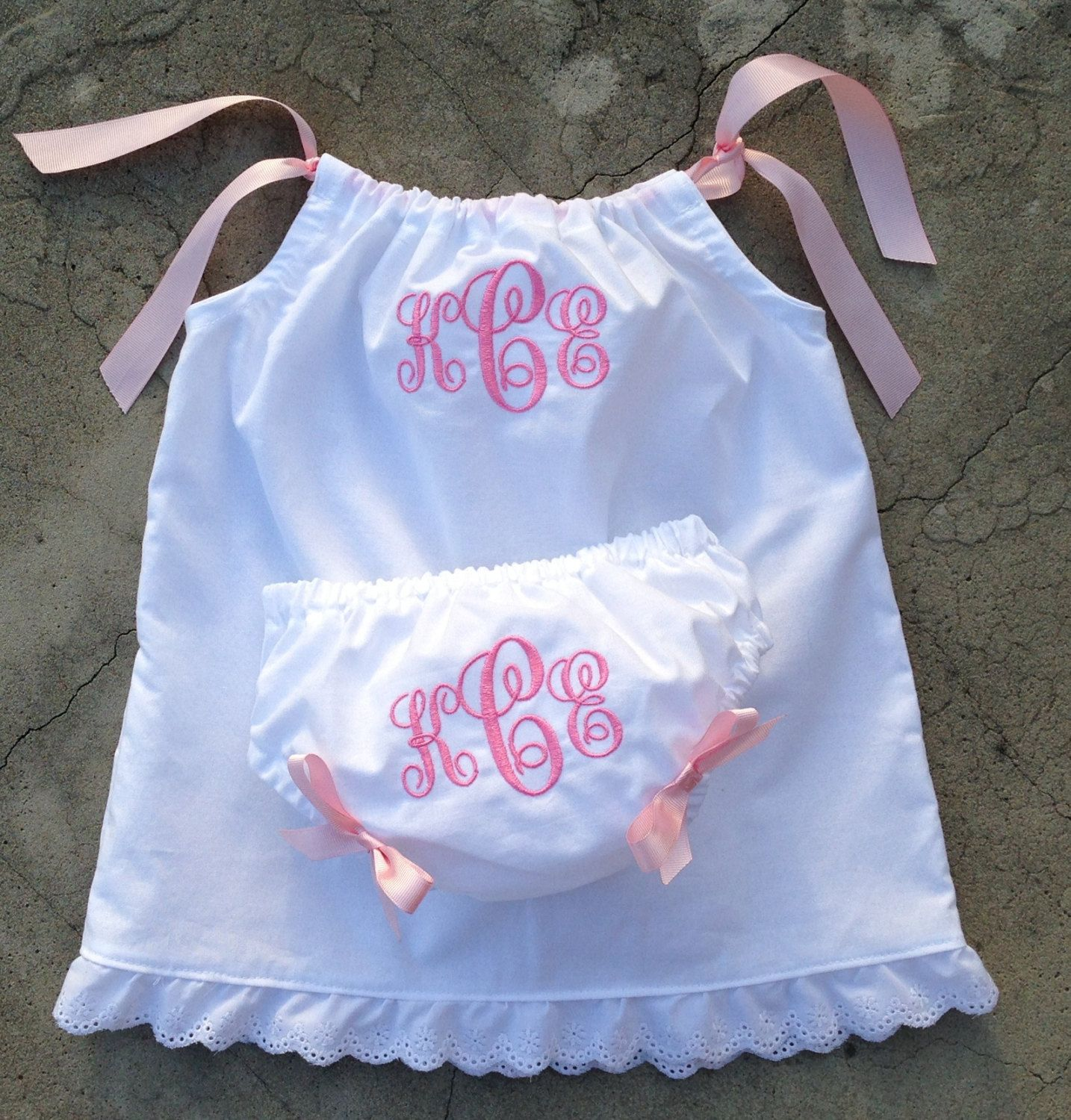 Monogrammed Baby Dress with matching bloomers white by SewChristi
