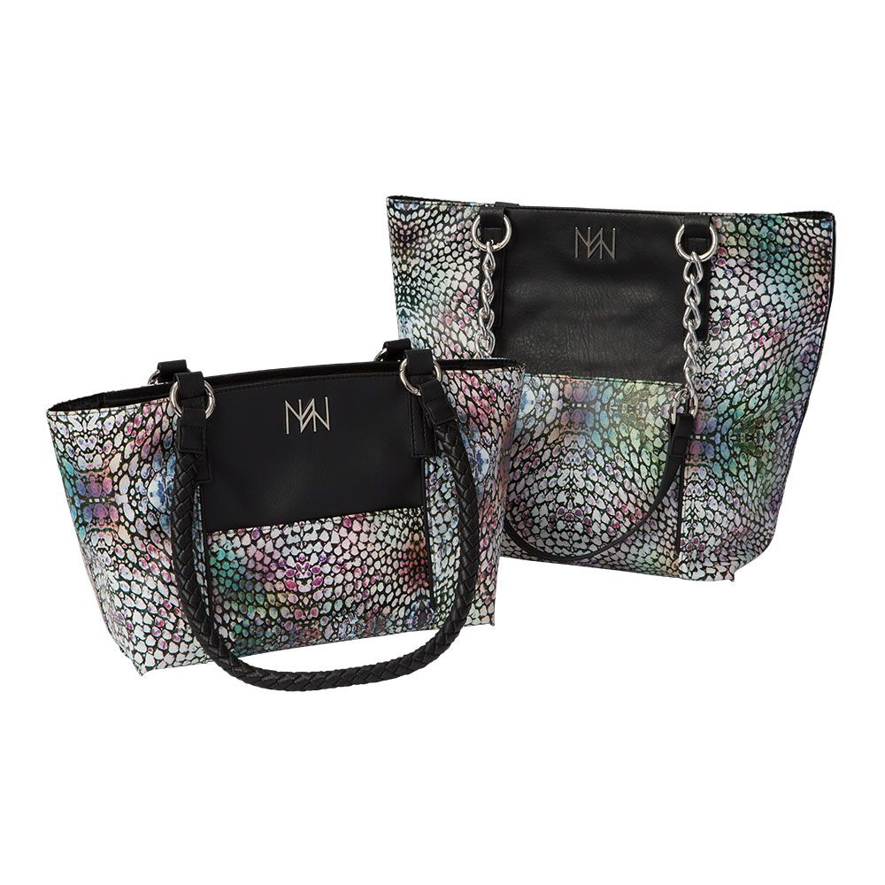 Miche Dare For Classic And Demi Bags Custom Scales Print In Shades Of Blue Purple Green Pink Black White With Accents Front Back Slip