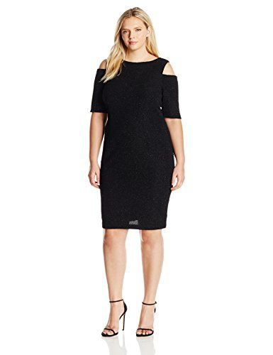 Eliza J Women's Plus Size Glitter Dress with Cold Shoulders