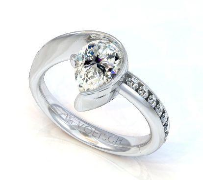 Pear Shape Diamond Ring In Palladium Swirl Setting Yelp