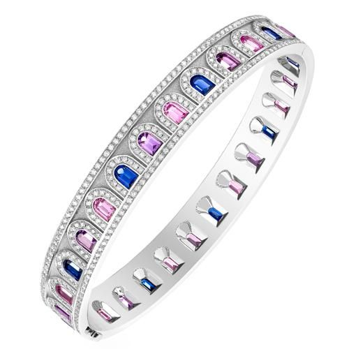 Photo of L'Arc Deco Bangle in Platinum with DAVIDOR Arch Cut Blue, Pink and Violet Sapphires and Brilliant Diamonds – 17