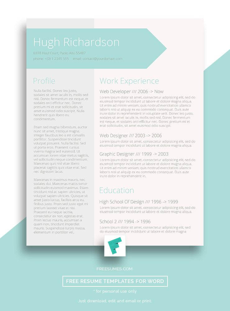 Free Turquoise Resume Cv Template  Greenish Blue Free Cv