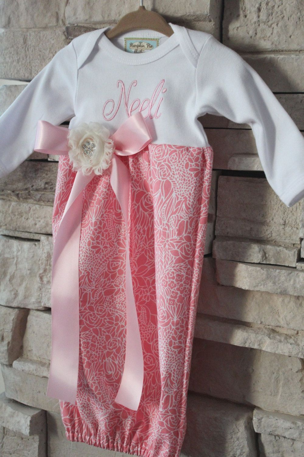 Monogrammed Baby Girl Layette / Gown. $28.00, via Etsy. | Autumn ...