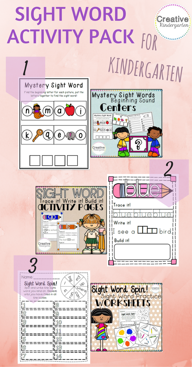 sight word activity pack for kindergarten great literacy centers to review sight words with your