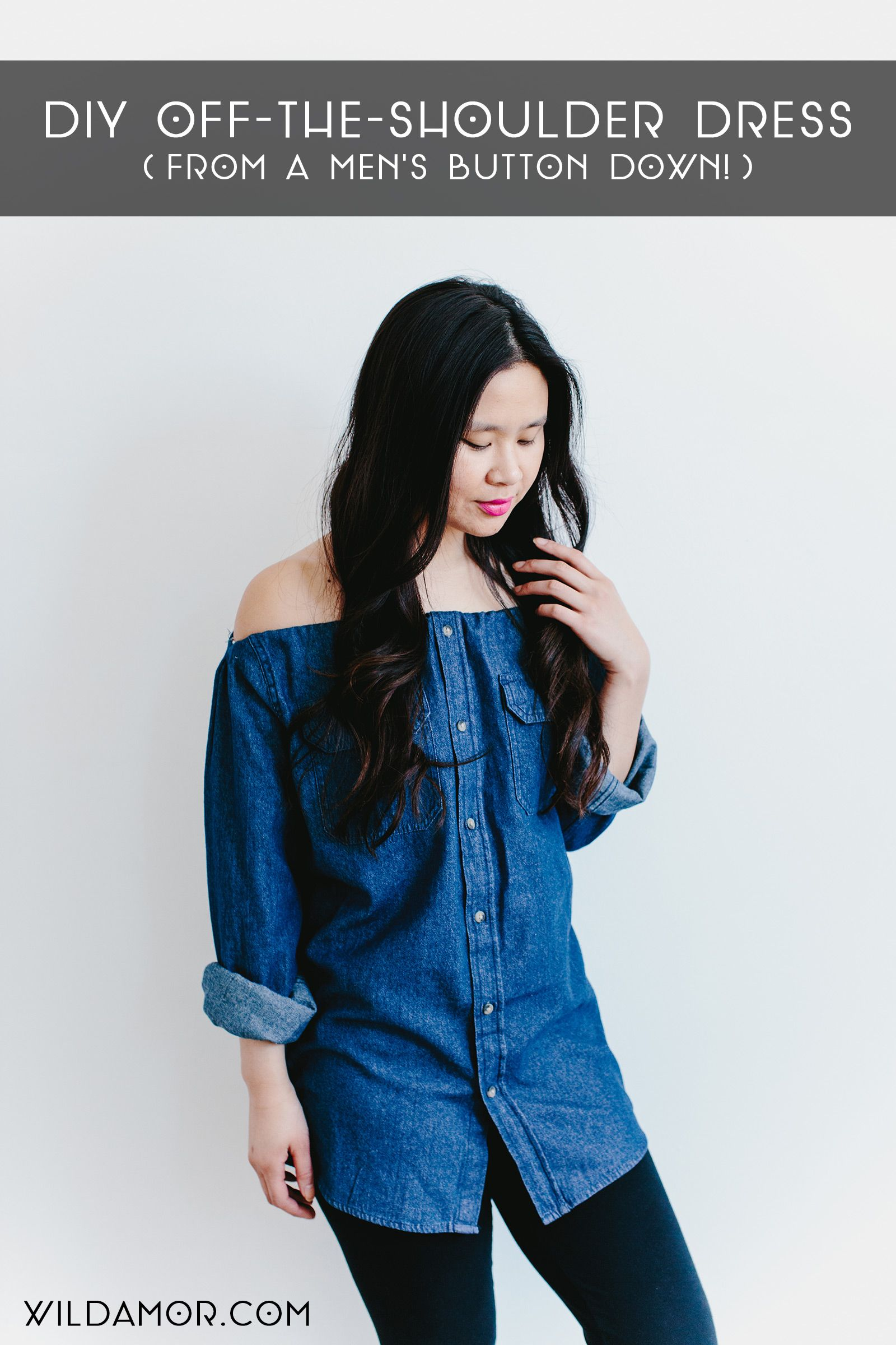 af43bbb7a23967 How to Turn a Button-Down Shirt Into a DIY Off-the-Shoulder Top or Dress