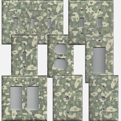 Army Digital Digi Desert Camo Camouflage Light Switch Plates Outlet Covers Home Decor Bedroom Boys Bedroom Decor Light Switch Covers
