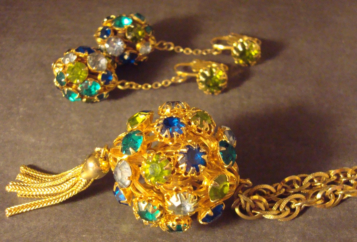080c75779 Vintage ball charm tassel necklace earrings set, 1950's or 60's, blue &  green glass stones, disco ball drop dangle charms, gold tone, ...