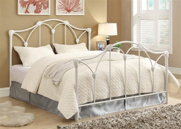 Traditional White Metal Queen Size Headboard Footboard White Iron Beds Iron Headboard White Metal Bed