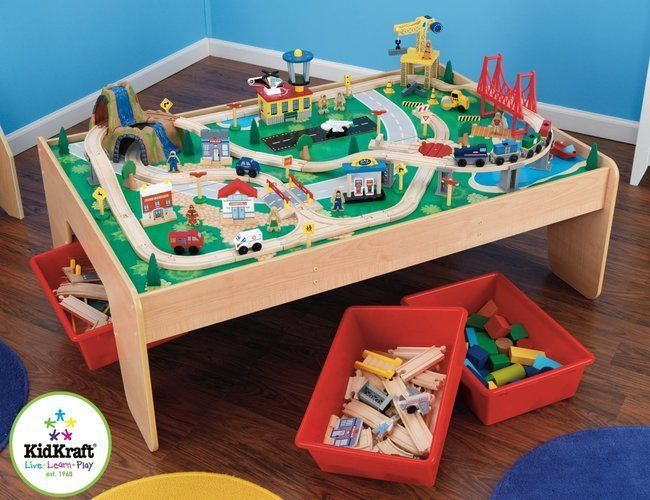 Learning Train Table Kids Creative Game Xmas Wooden Indoor Children ...
