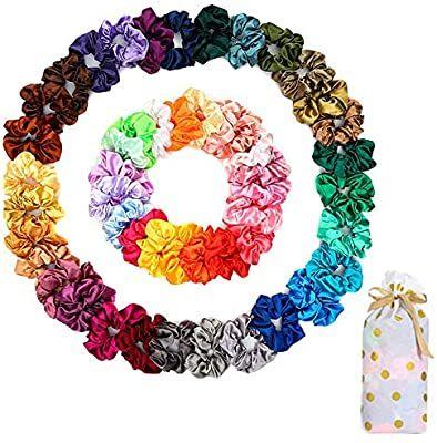 50 PCS Satin Hair Scrunchies for Curly Hair Silk S