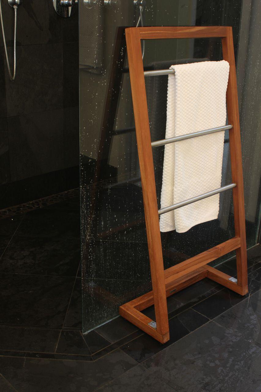 Teak Wood Towel Rack